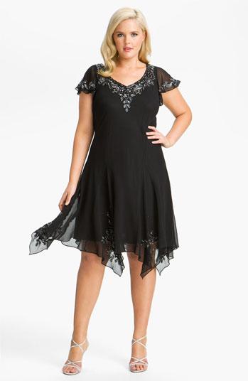 J Kara Dresses Kara Beaded Flutter Sleeve Chiffon Dress