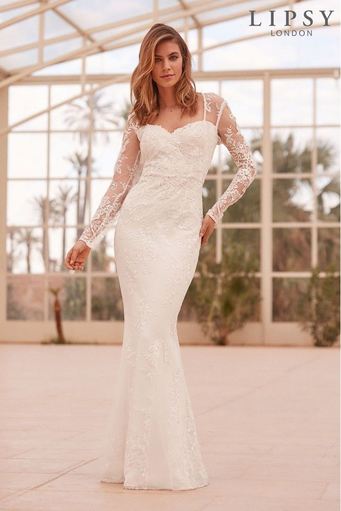 5d1ecd8c502d Womens Lipsy Bridal Vanessa Floral Embroidered Lace Maxi Dress - White