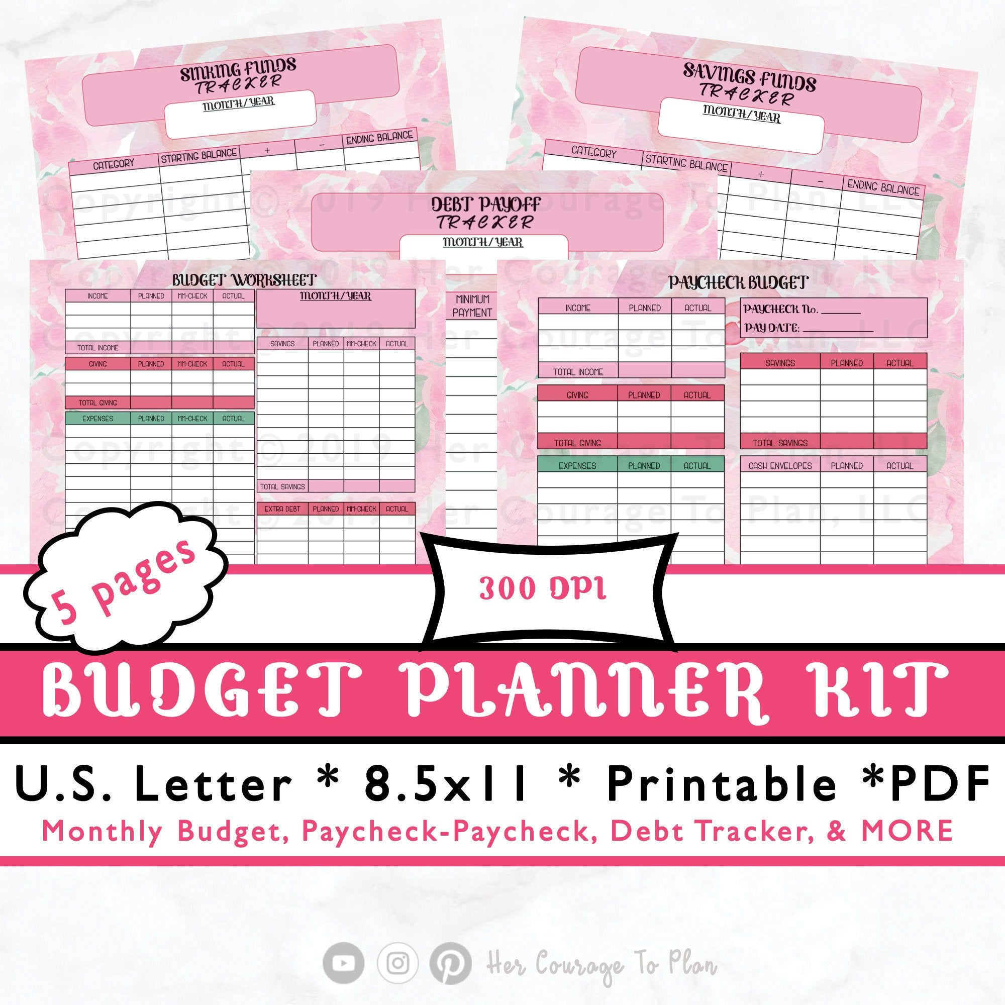 Printable Budget Planner Kit Stickers Financial Floral
