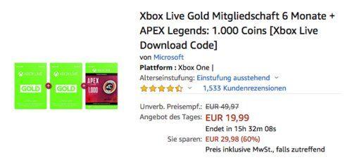 Xbox Live Gold Mitgliedschaft 6 Monate 33 Inkl Apex