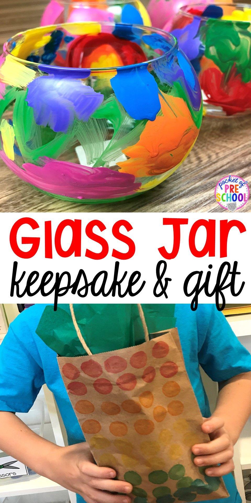 Glass Jar Keepsake Parent Gift Made by Kids Preschool