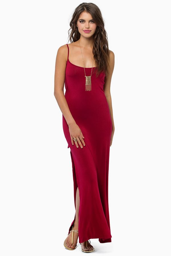 adorable and sleek red maxi