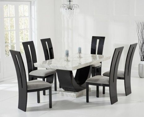 Raphael 170cm Cream And Black Pedestal Marble Dining Table With Raphael Chairs Dining Table Marble Dining Room Table Marble Black Dining Room