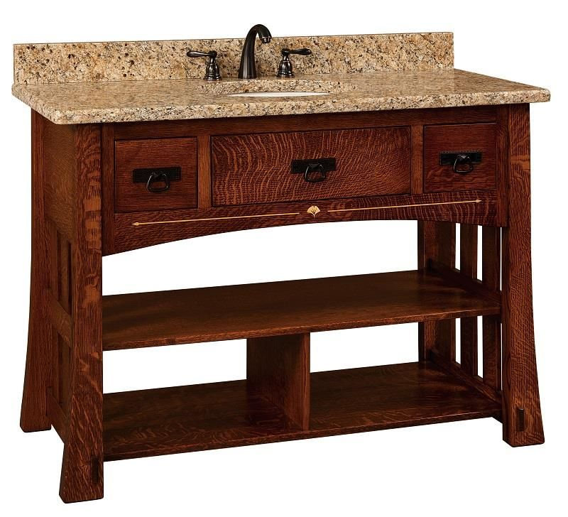 Image Of Amish Mesa Mission Single Bathroom Vanity Cabinet with Inlays