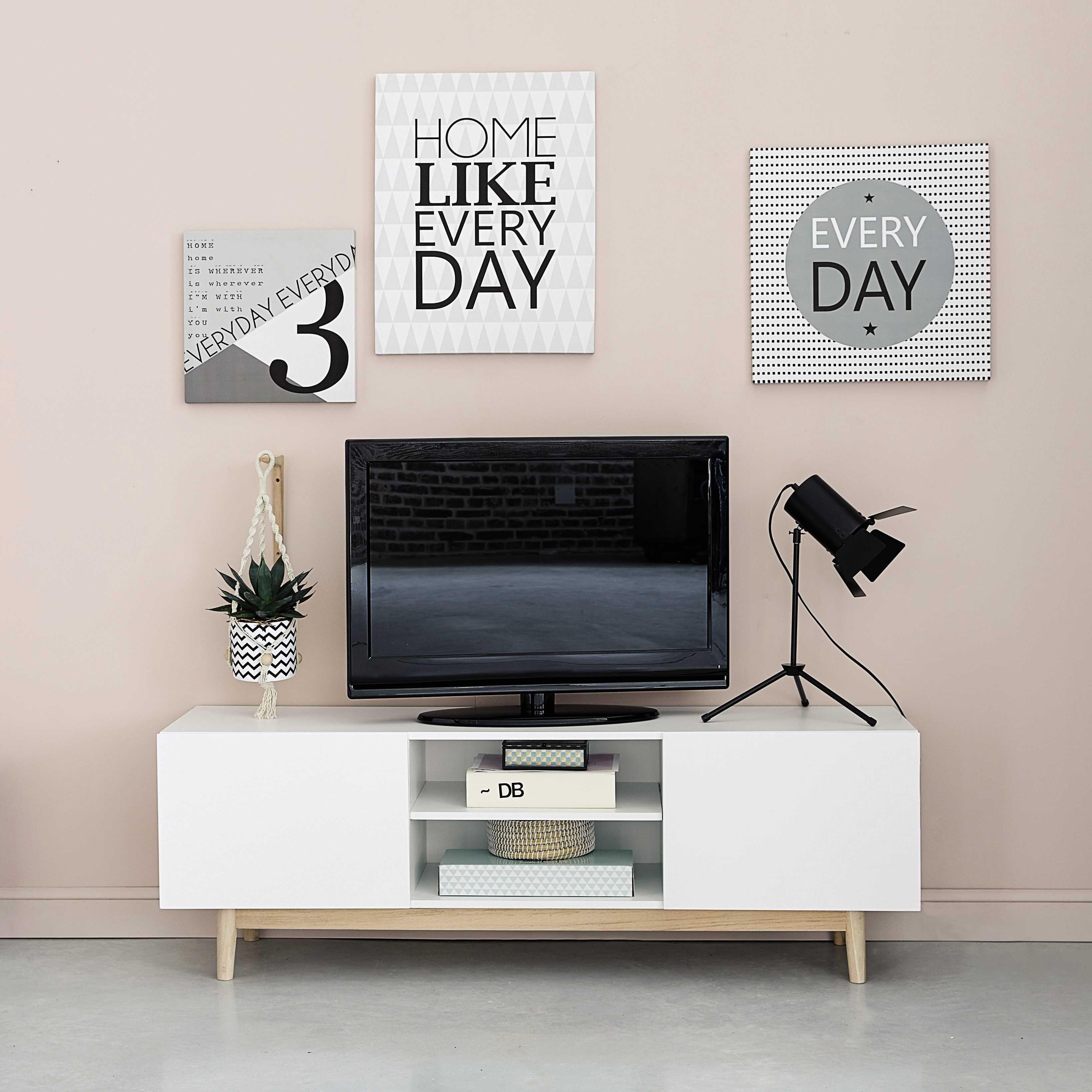 ides pour dcorer le coin tv meuble tv vintage en bois blanc l 150 cm artic maisons du monde - Meuble Design Vintage