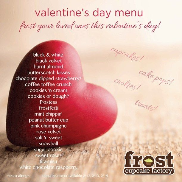 Downtown Campbell: Our Valentine's Day Menu for the next three days is now published!! Come celebrate with us...we have hearts coming out of our ears!!!!!! Cupcakes cake pops rice krispie hearts cookies pretzels......so much sweet love! #valentinesday #loveisintheair #sweetsforyoursweet #frostyourvalentine #cupcakewars #love #hearts #pink #downtowncampbell #flavorsoffrost #yumm by frostcupcakefactory