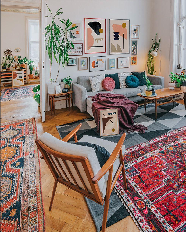 Boho interior with abstract art