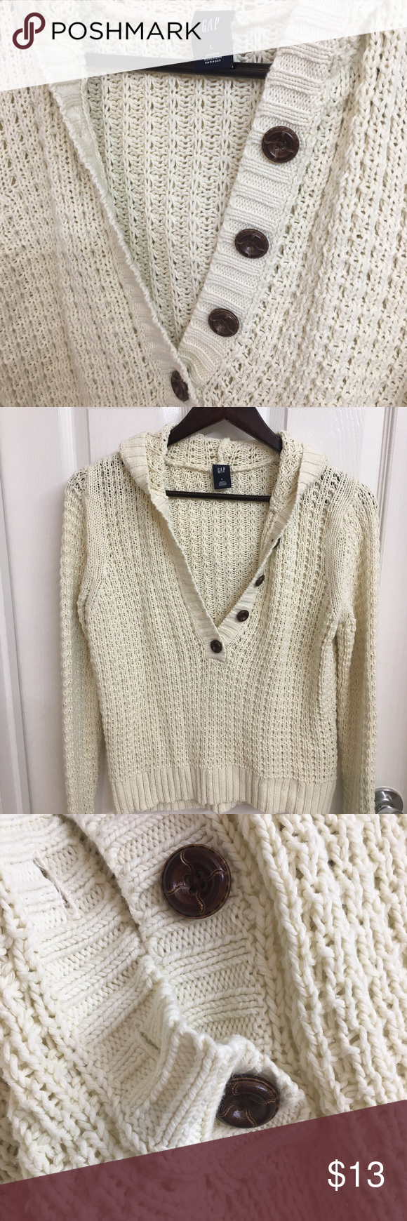 GAP Cream Fisherman Knit Sweater With Hoodie | Cotton, Leather and ...