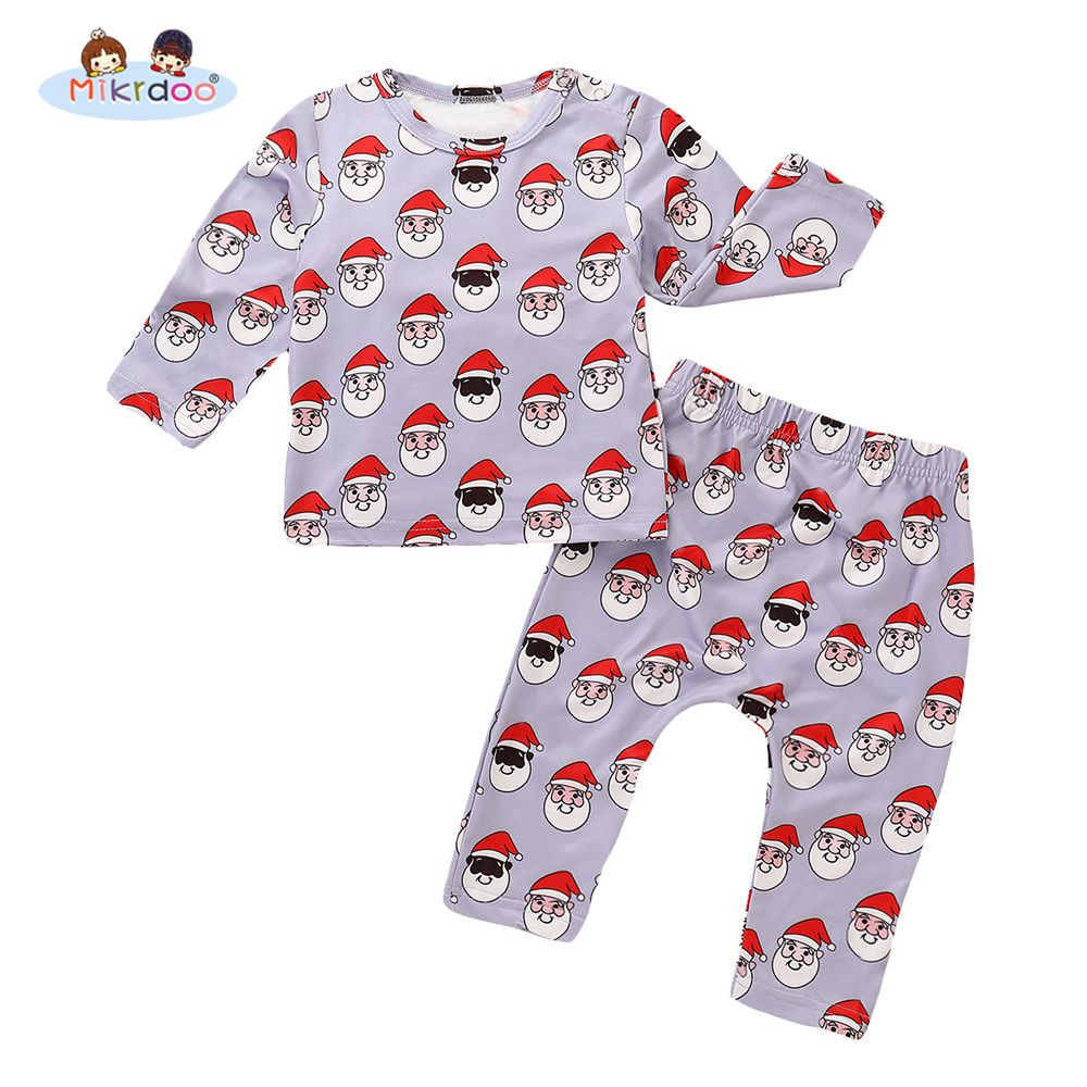 59f58609d5ca Toddler Baby Boys Girls Christmas Clothes Set Santa Christmas Print Long  Sleeve Top Pant 2PCS Outfit Autumn Style Clothing