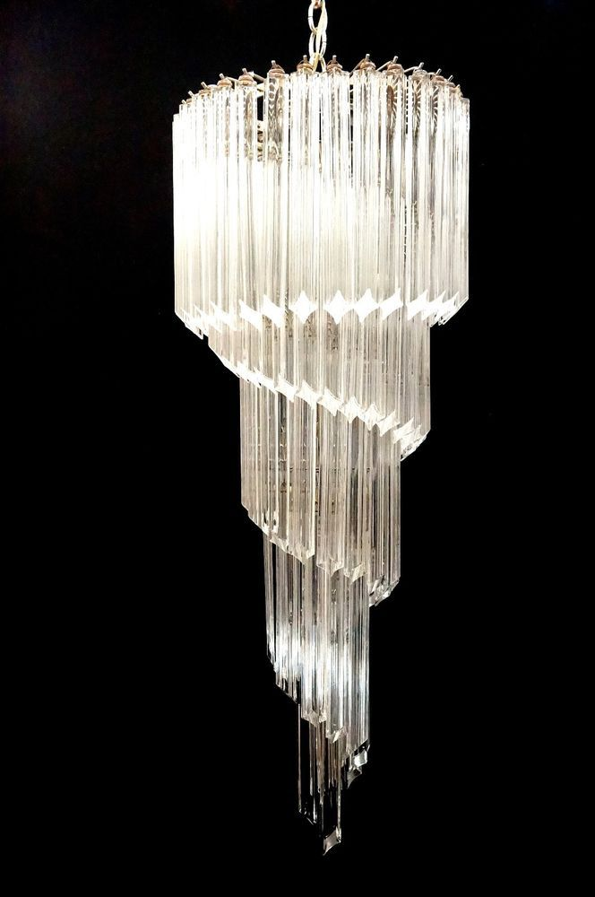 Vintage Mid Century Modern Murano Crystal Spiral Glass