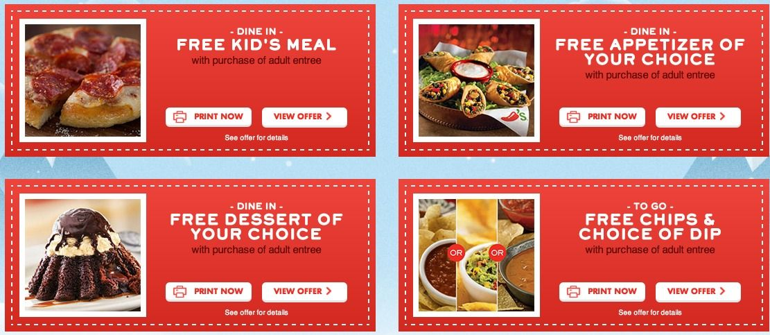 Chilis HOT Coupons FREE Appetizer Chips And Dip Dessert