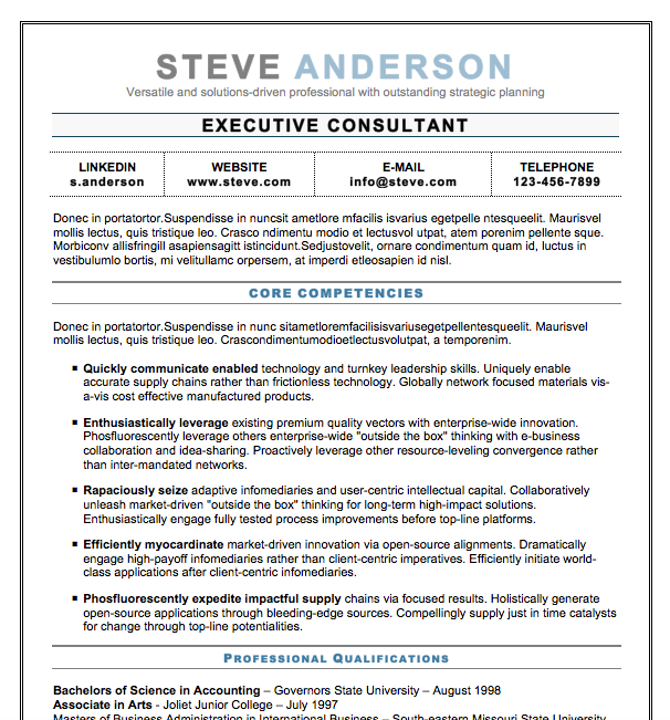 Free Resume Download Executive Elegant  Microsoft Word Format