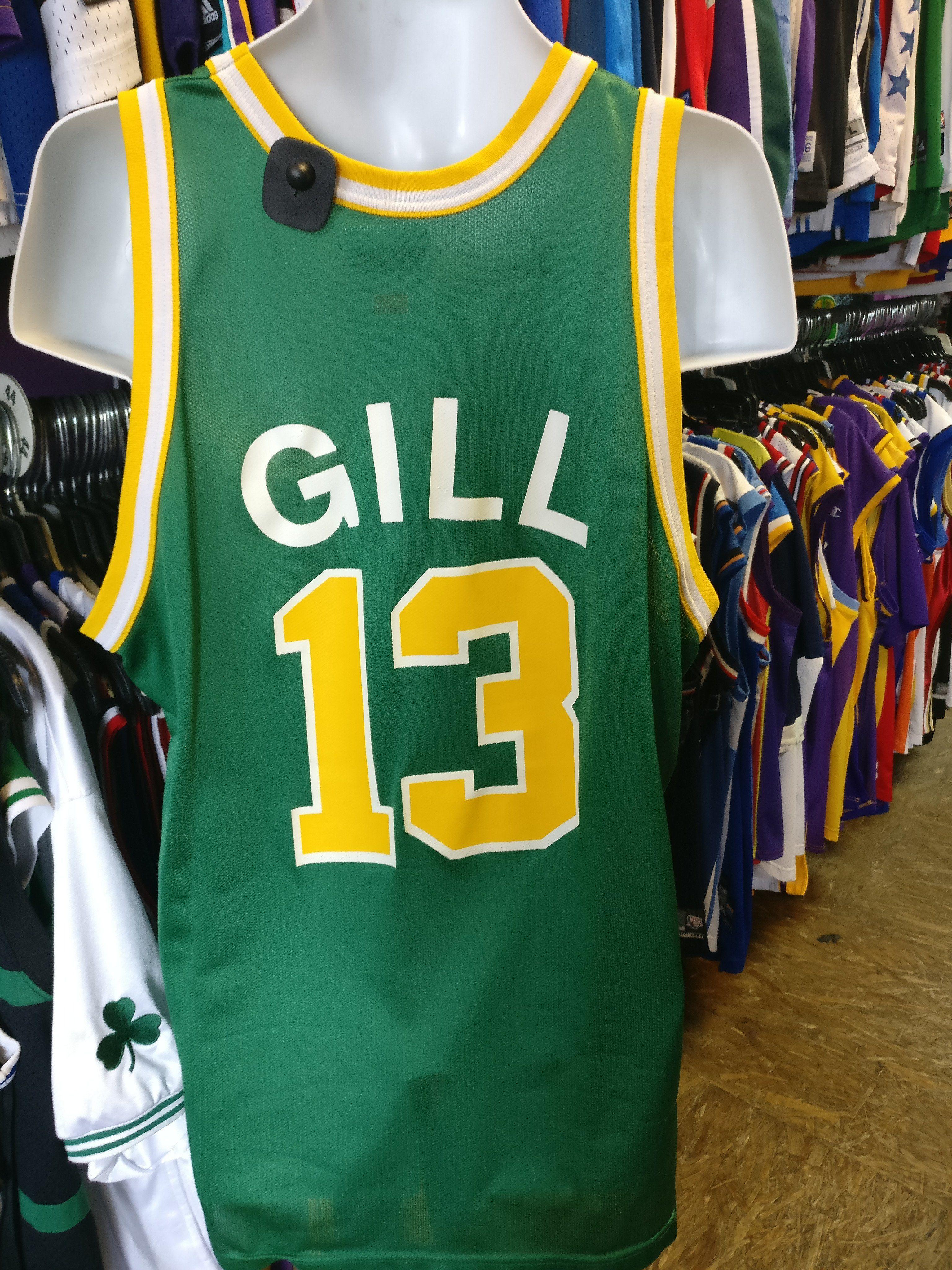 Vtg 13 KENDALL GILL Seattle Supersonics NBA Champion Jersey 48