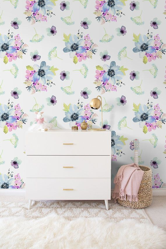 Pastel Pink Purple Watercolor Removable Wallpaper Wall Mural