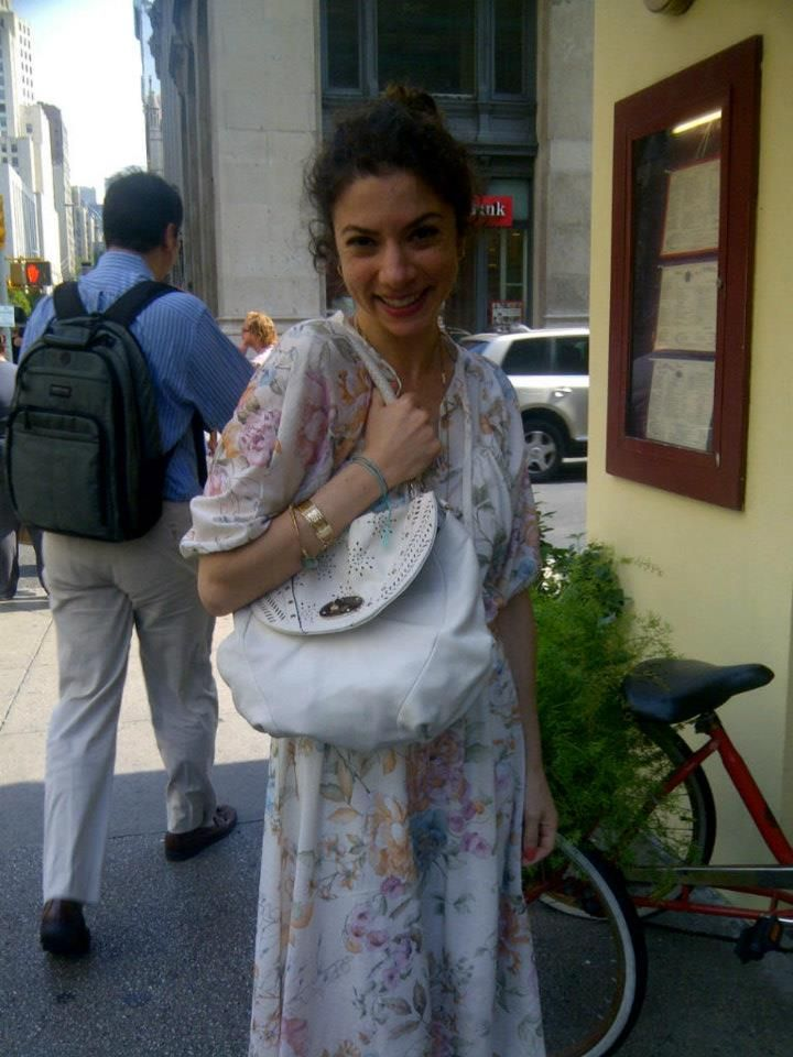 Accessories Editor, Pandora, from OK! Magazine with her Elliott Lucca Ona Flap Spotted on 20th st, NYC