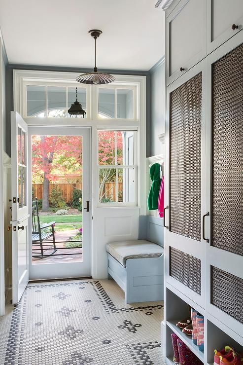 Powder Blue Mudroom Features Powder Blue Locker Cabinets Fitted With