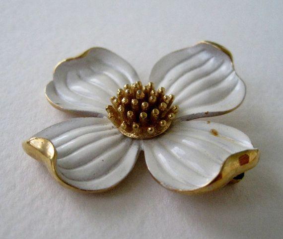 1950/'s Enamel Flower Brooch Vintage Floral Costume Jewelry Mid Century Kitschy Flower Pins