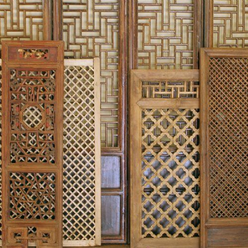 Antique Asian Chinese Wood Screens, Room Dividers and Doors