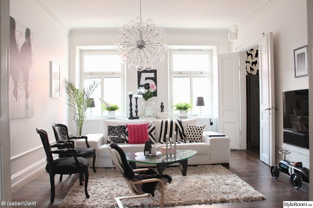 black and white living room, sofa, black and white, glass lamp, living room
