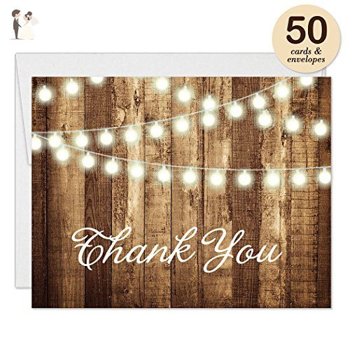 Rustic Thank You Cards With Envelopes Pack Of 50 Strings Of