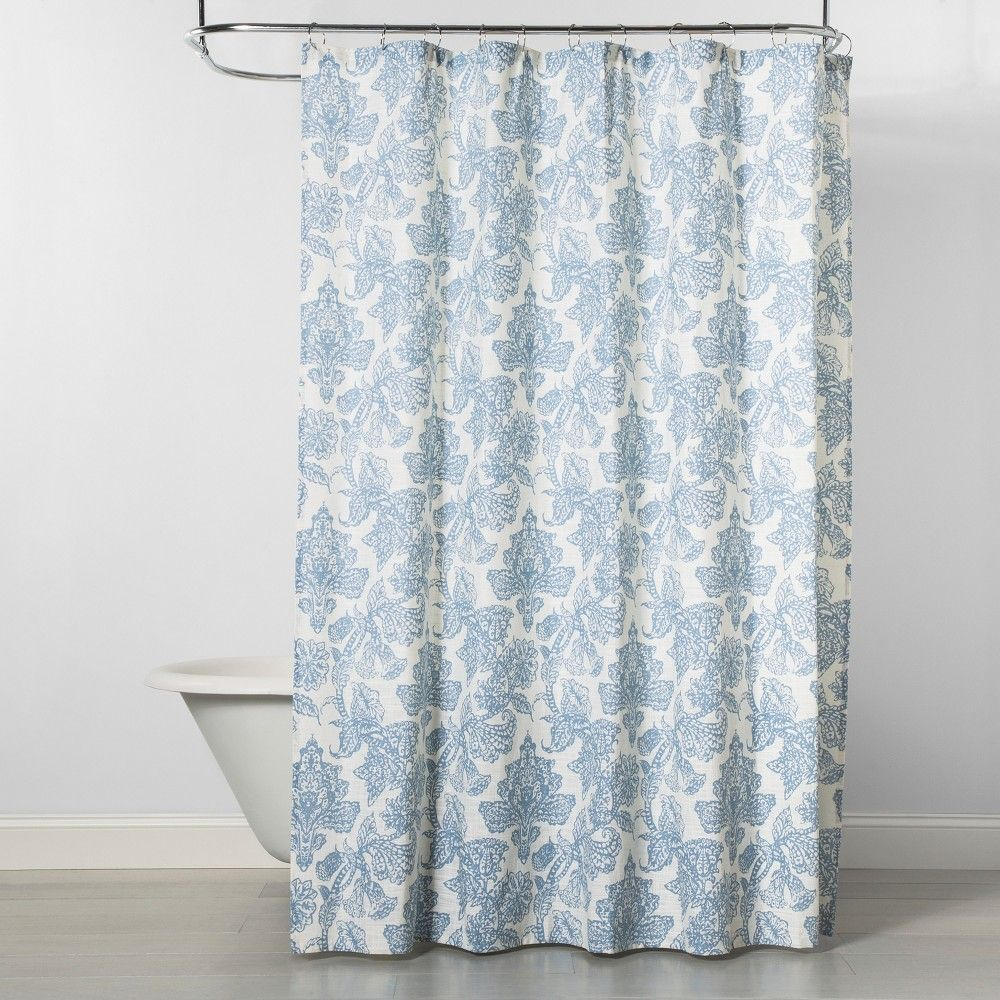 Floral Shower Curtain Blue White Threshold Floral Shower