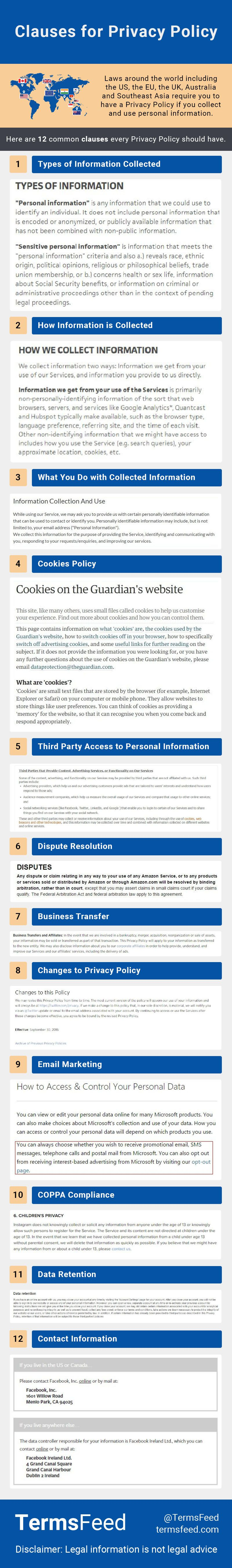 Clauses for Privacy Policy Privacy policy