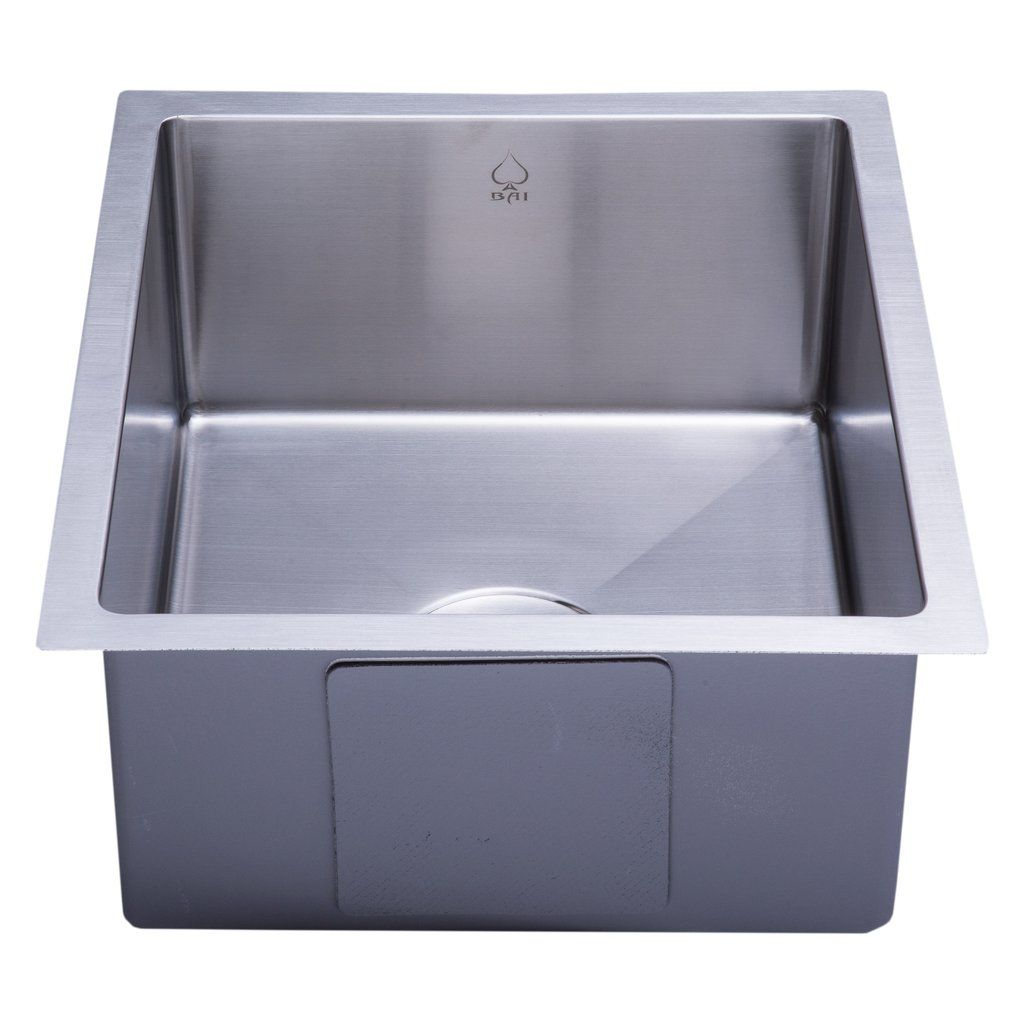 "Update your kitchen décor with this stainless steel single bowl handmade sink.                  Features: Crafted from 16 gauge scratch-resistant commercial grade 304 stainless steel, premium satin finish   The bottom of the sink has channel grooves to divert water for proper drainage 3.5-inch drain opening is compatible with most garbage disposals available in the market Padded undercoated insulation over a rubber pad reduces noise while sink is in use Fits 18"" cabinet (or wider) Limite..."