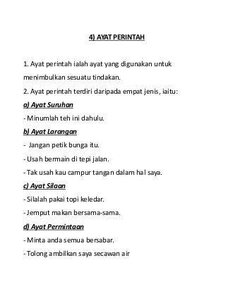 Jenis Jenis Ayat Bahasa Melayu Primary