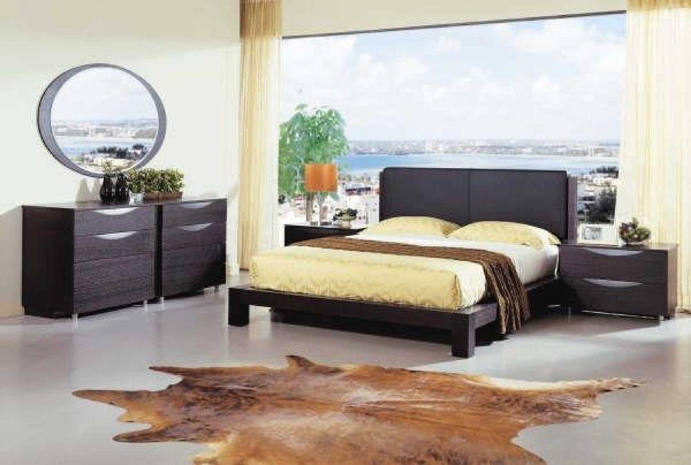 Vig Furniture Linda Contemporary 5 Piece Bedroom Set King Platform Bed, 2 Night  #vigfurniture