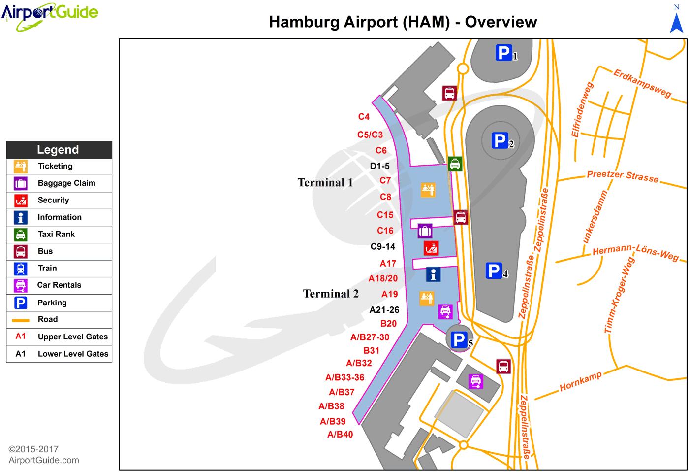 Hamburg Hamburg (HAM) Airport Terminal Map Overview