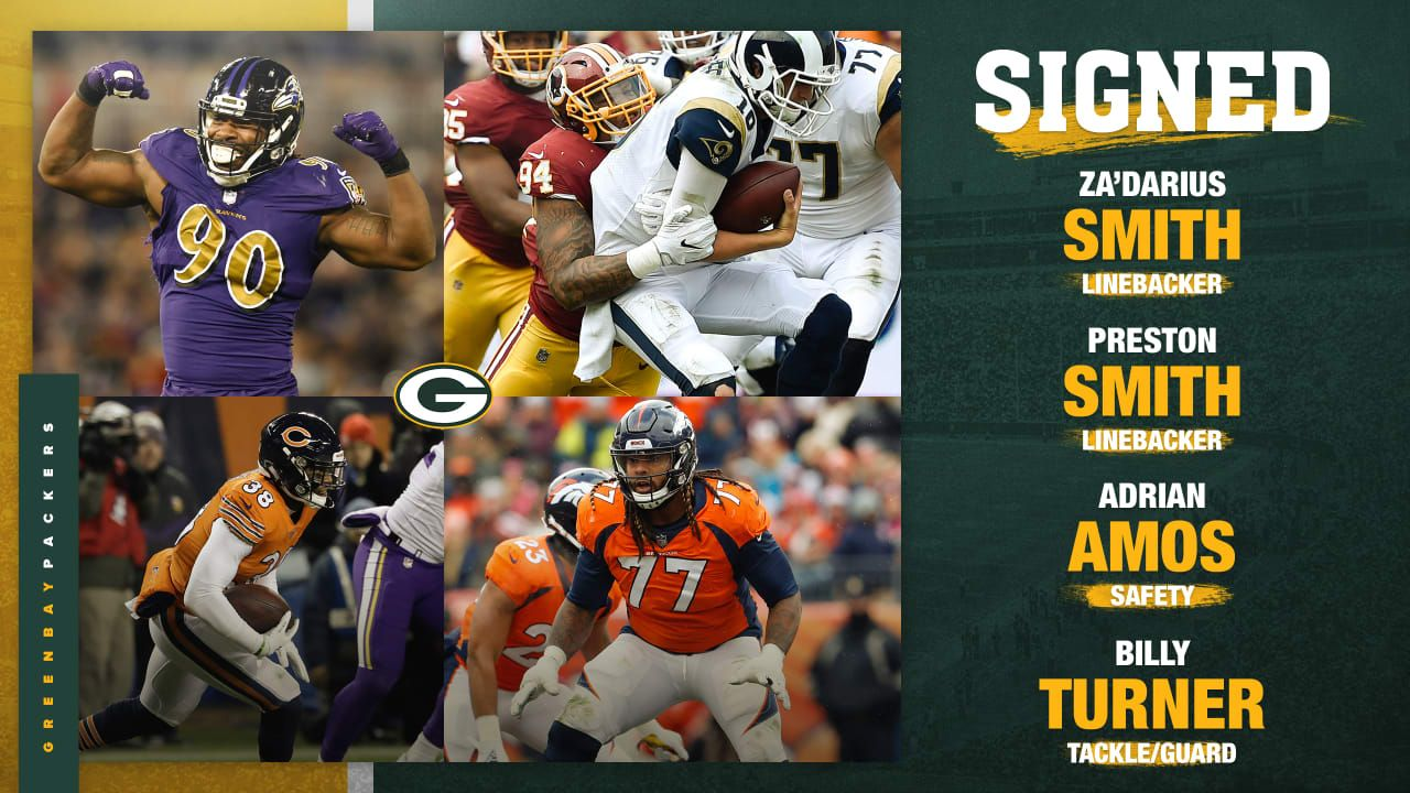 The Green Bay Packers Have Signed S Adrian Amos Lb Preston Smith Lb Za Darius Smith And T G Billy Turner General Manager Bri Preston Smith Packers Green Bay