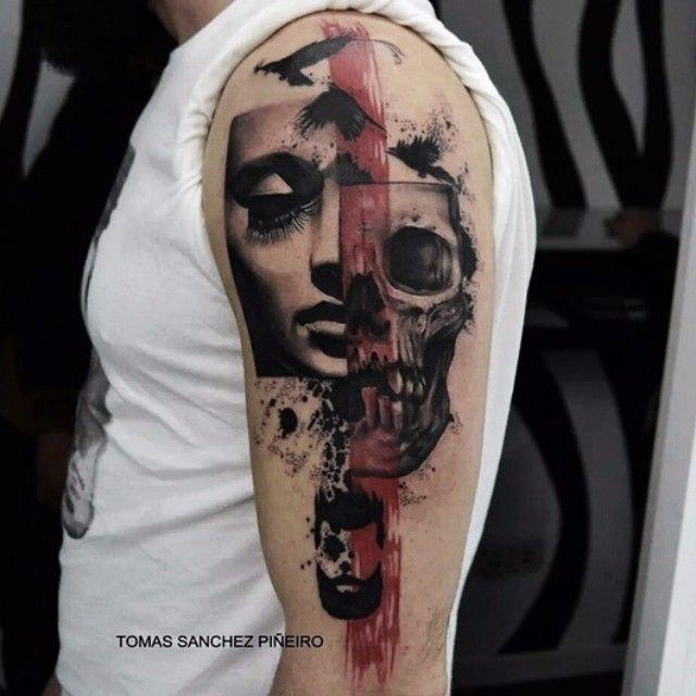 skull trashpolka shoulder tattoo tattoo pinterest tattoo ideen rot schwarz und tattoo. Black Bedroom Furniture Sets. Home Design Ideas