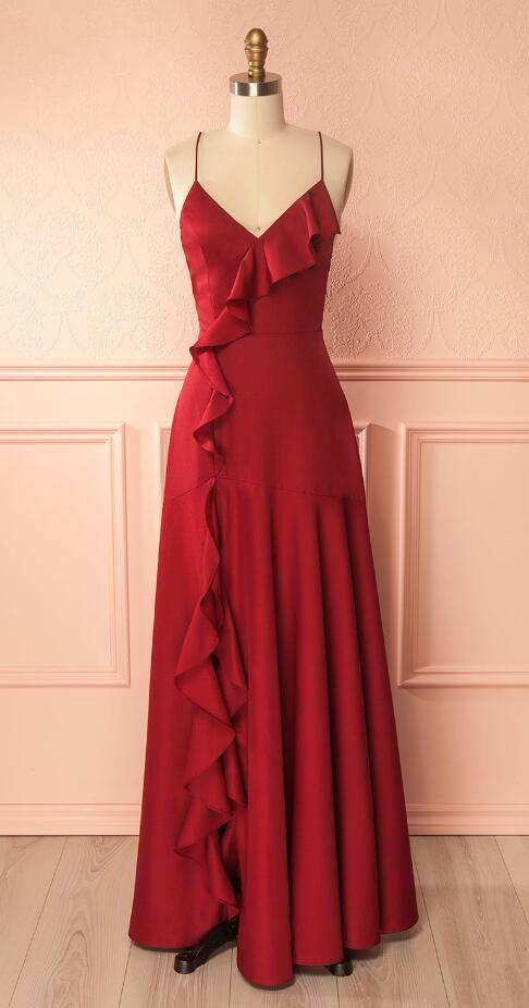 Simple Burgundy Prom Dressv Neck Cheap Long Prom Dresslace Up Back