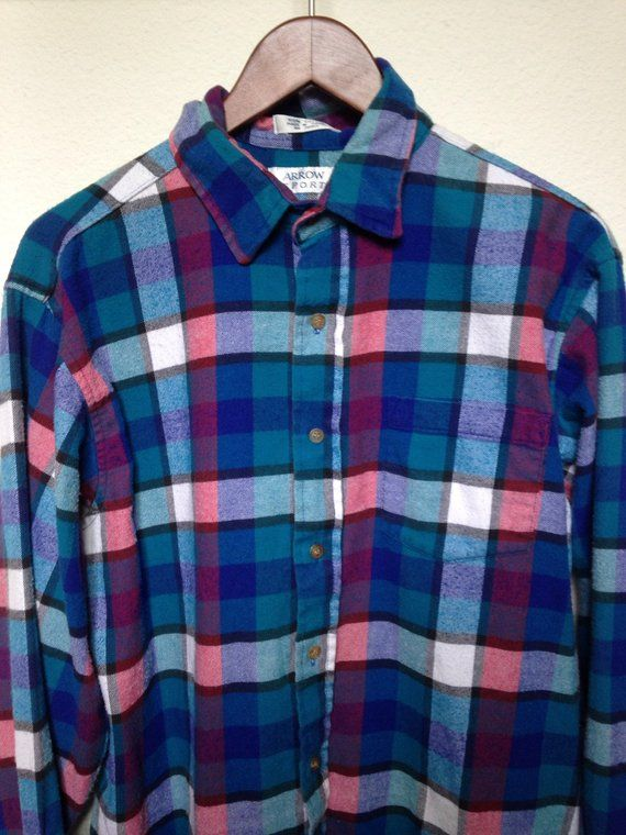 607d42cc Vintage plaid flannel shirt Large, teal royal blue red, 90s grunge flannel,  checkered cotton long sl