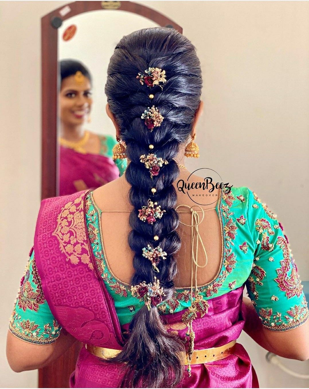 Pin By Anjana Chaganti On Designer Blouses Hair Styles Indian Bride Hairstyle Engagement Hairstyles