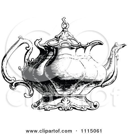 Vintage Tea Cups Black And White