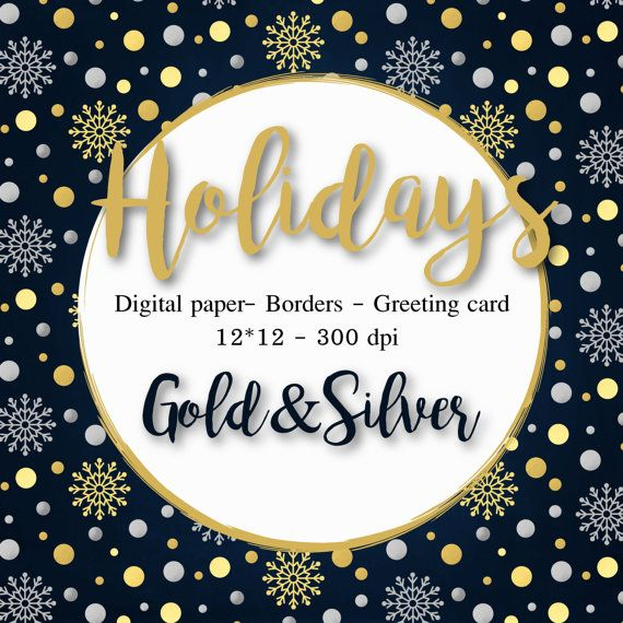 Christmas Clipart Gold Silver digital paper Christmas cards Borders
