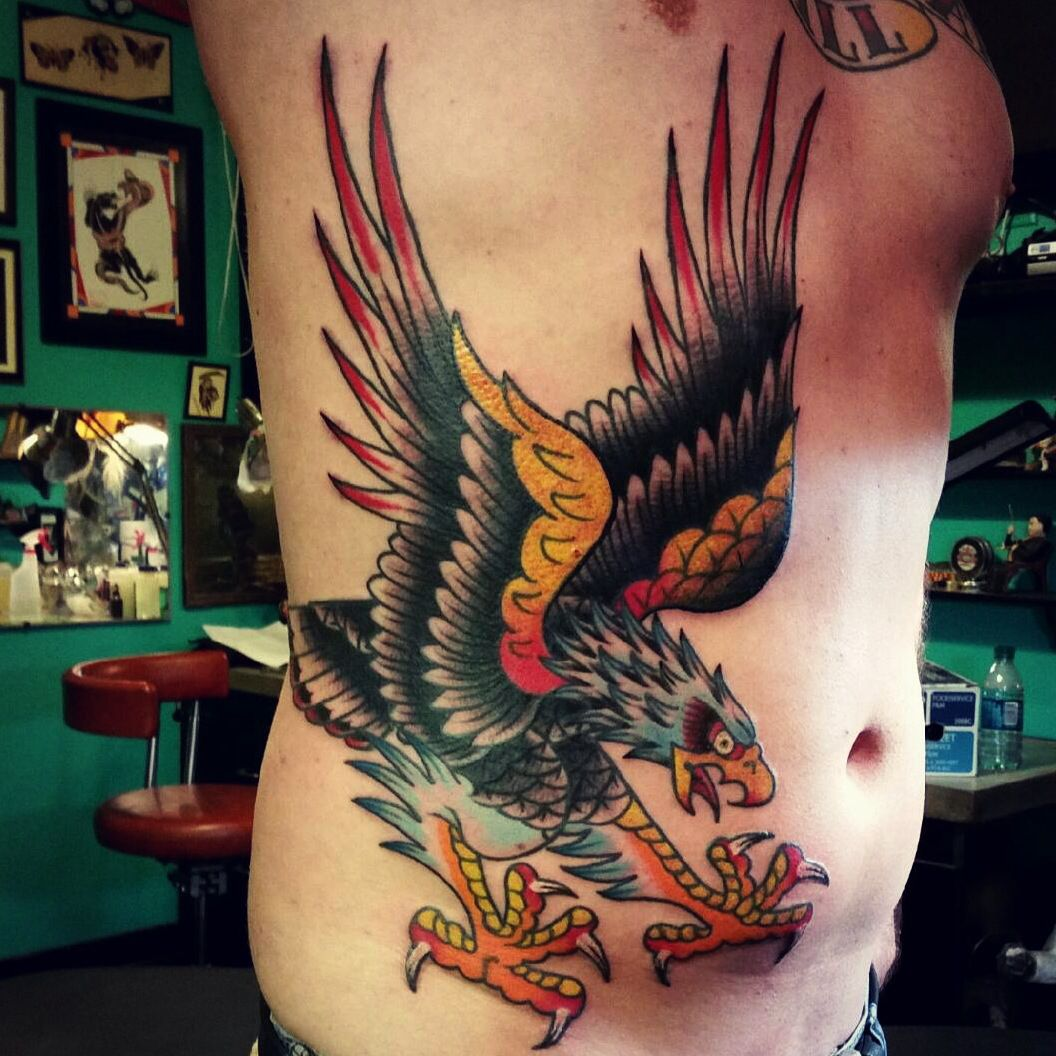 Tattoostraditional On Pinterest: Finished Traditional Eagle Tattoo. Death Or Glory Tattoo