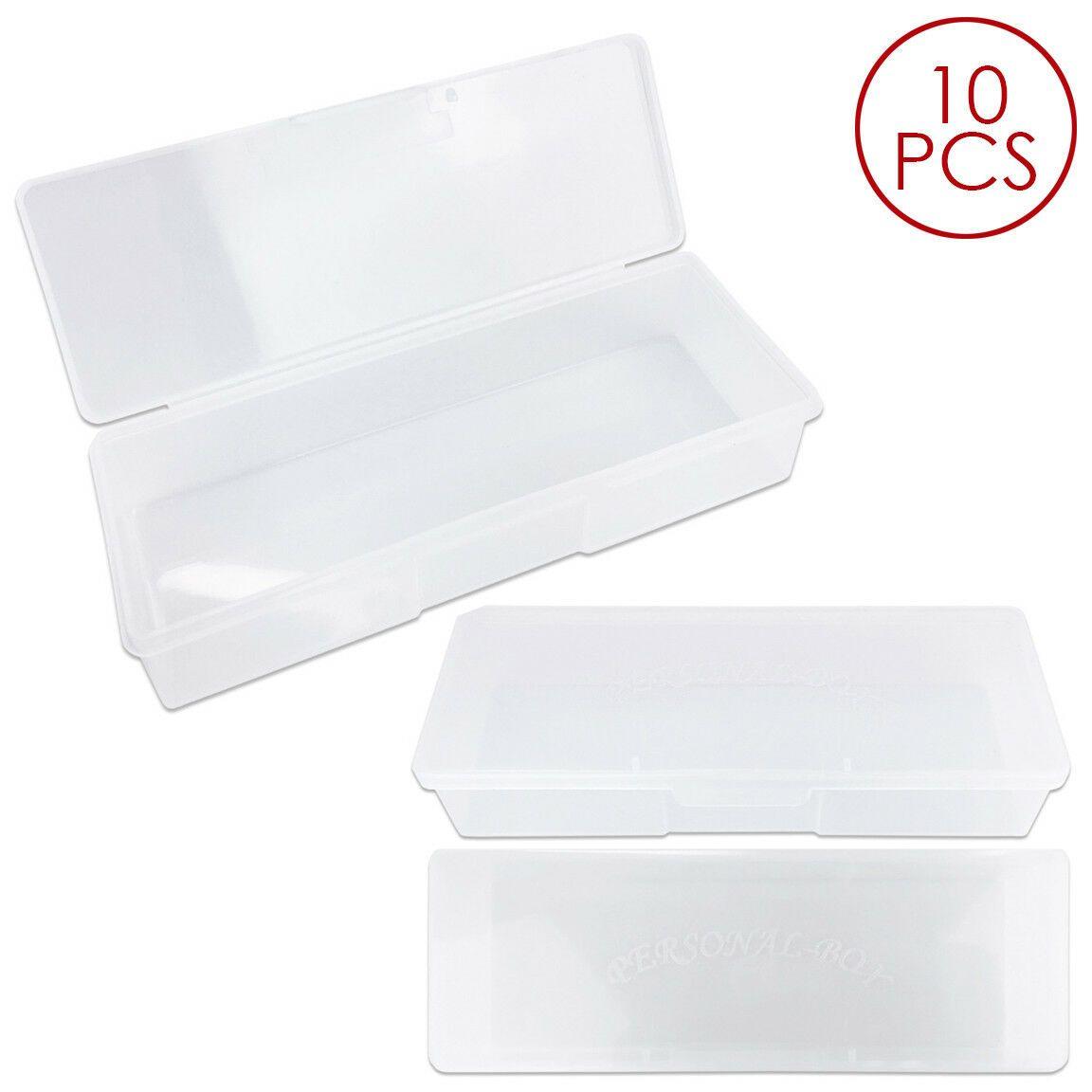 10pcs Large Plastic Manicurists Personal Box Storage Case Container White St Plastic Container Storage Storage Containers Metal Storage Containers