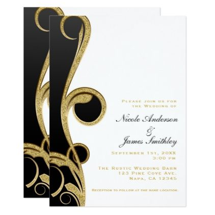 White Black Gold Chic Elegant Swirl Wedding Invitation Zazzle Com Black Gold Party Gold Chic Gold Wedding Gift