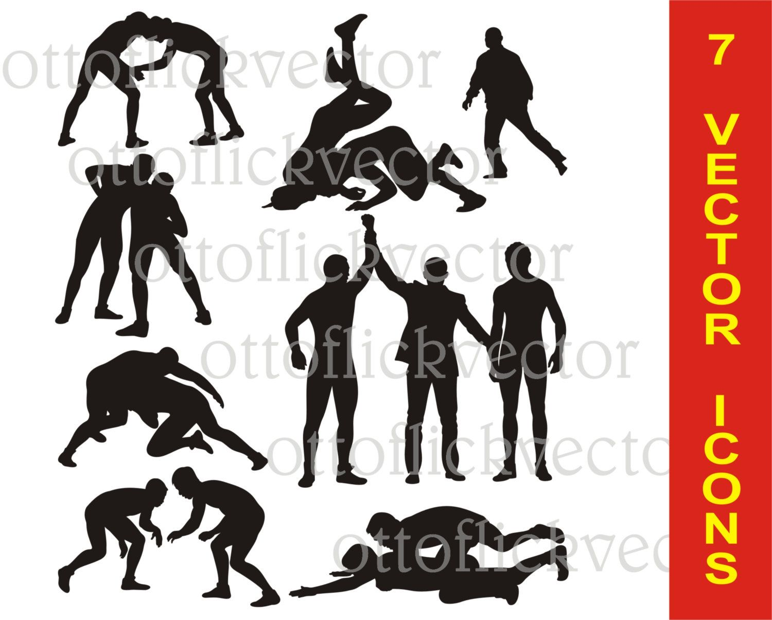 Wrestling Vector Silhouettes Clipart Eps Ai Cdr Png Jpg Sport Icon Combat Sport Wrestlers Icon Greco Roman Frees Clip Art Wrestling Silhouette Design