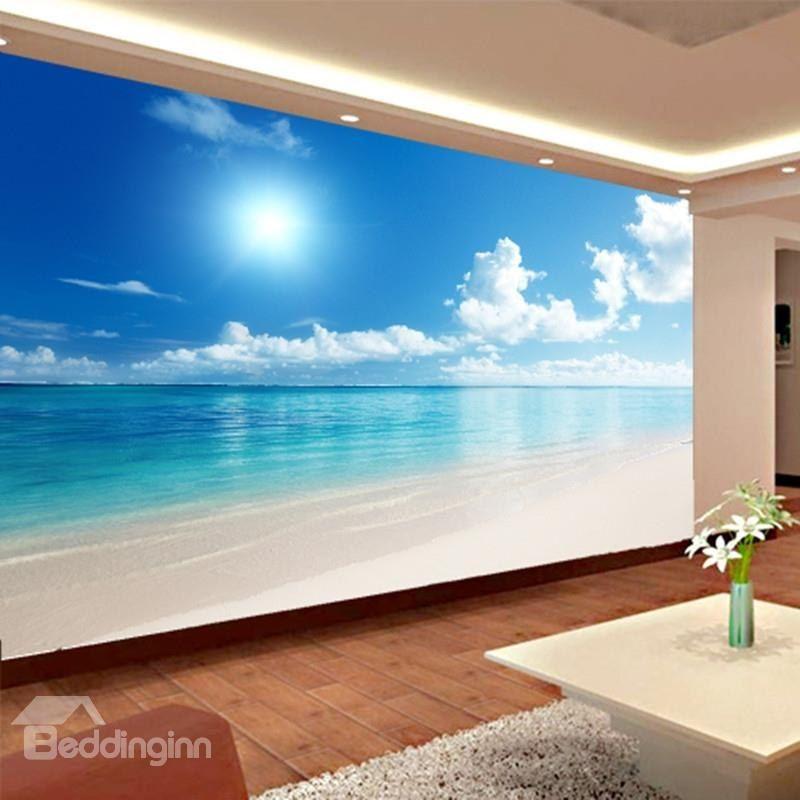 Blue Sky And Sea Scenery Pattern Pvc Waterproof And Durable 3d Wall Murals Beddinginn Com Beach Scene Wallpaper Beach Wallpaper Beach Mural
