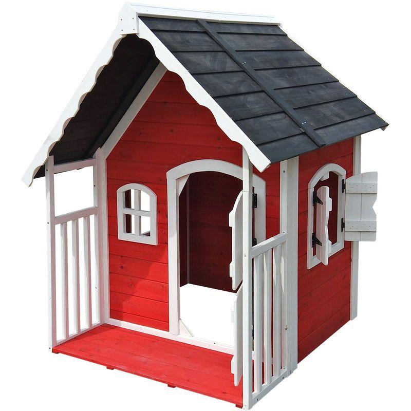 Spielhaus für Kinder aus Holz mit Veranda, Fenstern und