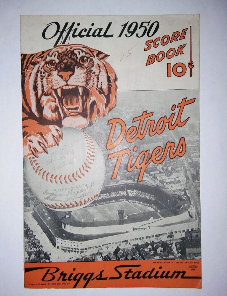 1950 DETROIT TIGERS SCORE BOOK -Ex adv, SUPER COND