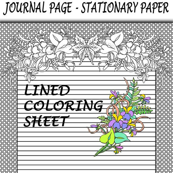 Lined Coloring Sheet Journal Paper  Wild by ArtWildflowersDigi