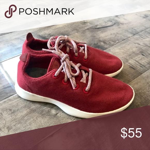 Allbirds Women's Size 8 Dark Red Wool Athletic Sneakers