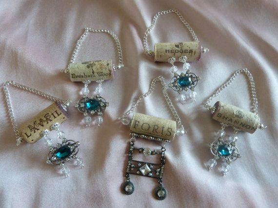 Something Blue Wine Bottle Necklace Set by TheBeadedCork on Etsy, $11.00