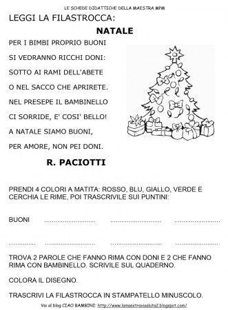 Poesie Di Natale Per Bambini Asilo.Filastrocca Natale Classe Prima Poesie Filastrocche E Disegni