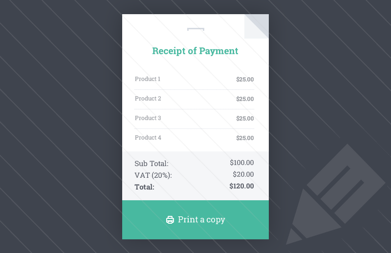Receipt HTML Template Template And Ui Ux - Css invoice template