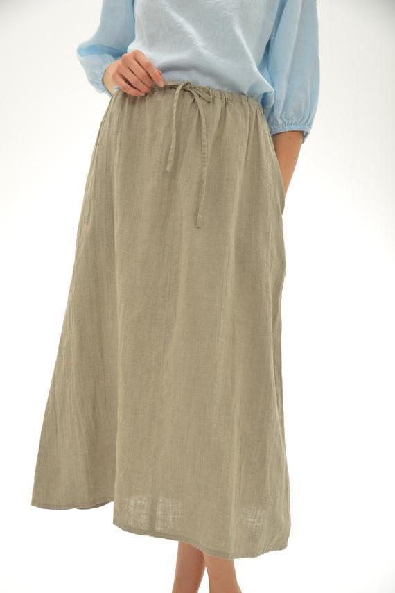 a7772cc2e Linen Midi Skirt/ Linen Skirt Drawstringed/ Eco Friendly Natural Skirt/  Linen Clothing Women/ Boho S